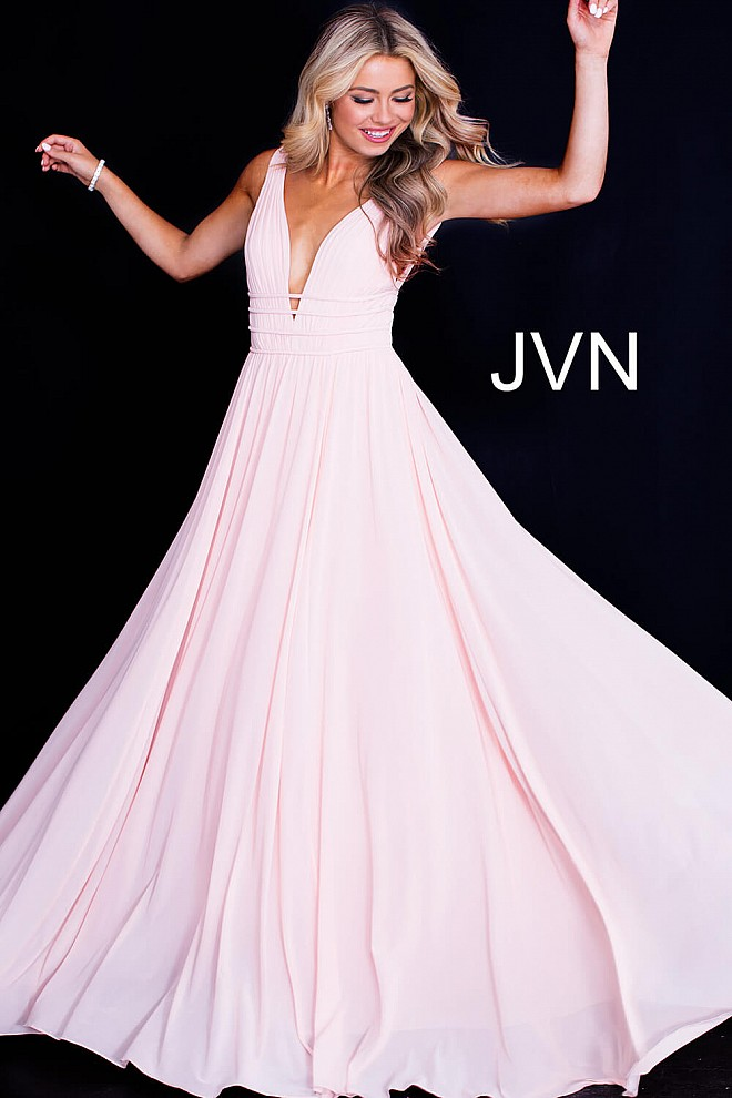 Blush long flowy backless v neck sleeveless mesh prom gown.277967371