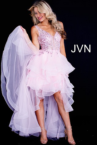 Pink High Low Ruffle Embellished Prom Dress JVN60563