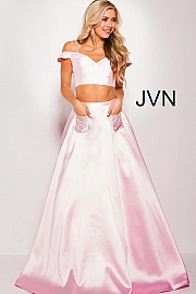 Blush Embellished Pockets Two Piece Prom Ballgown JVN61190