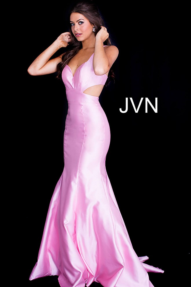 pink long fitted open low back sleeveless mermaid prom dress