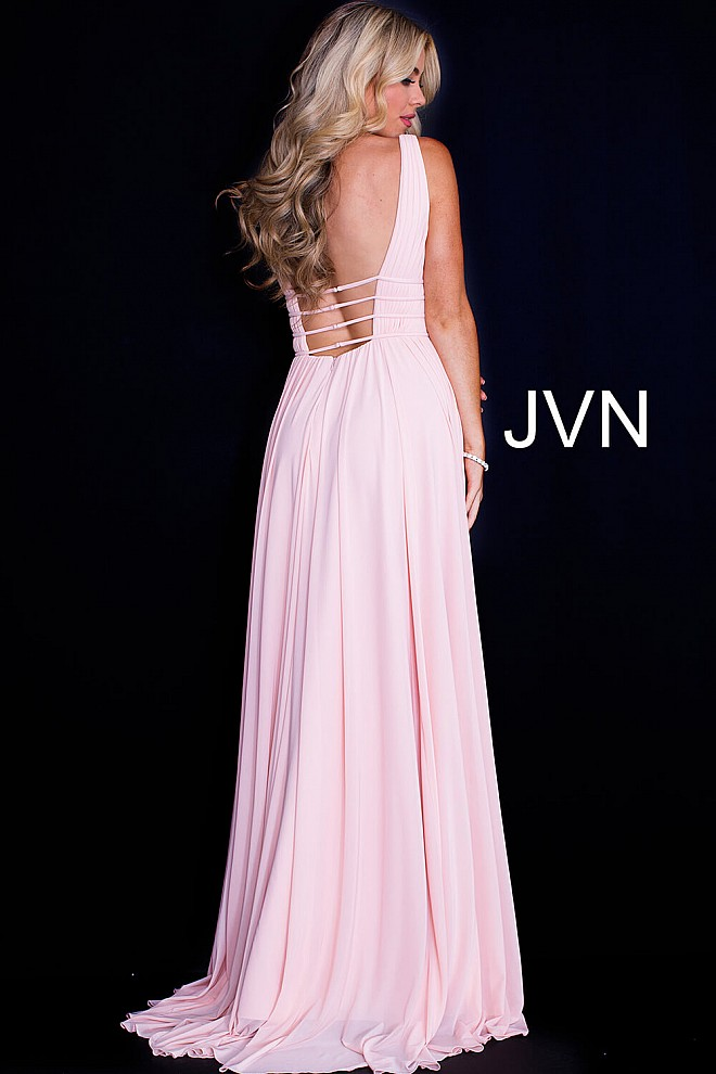 Blush long flowy backless v neck sleeveless mesh prom gown.