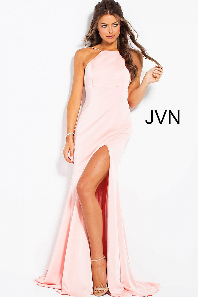 Blush Backless High Slit Sleeveless Prom Dress JVN55641
