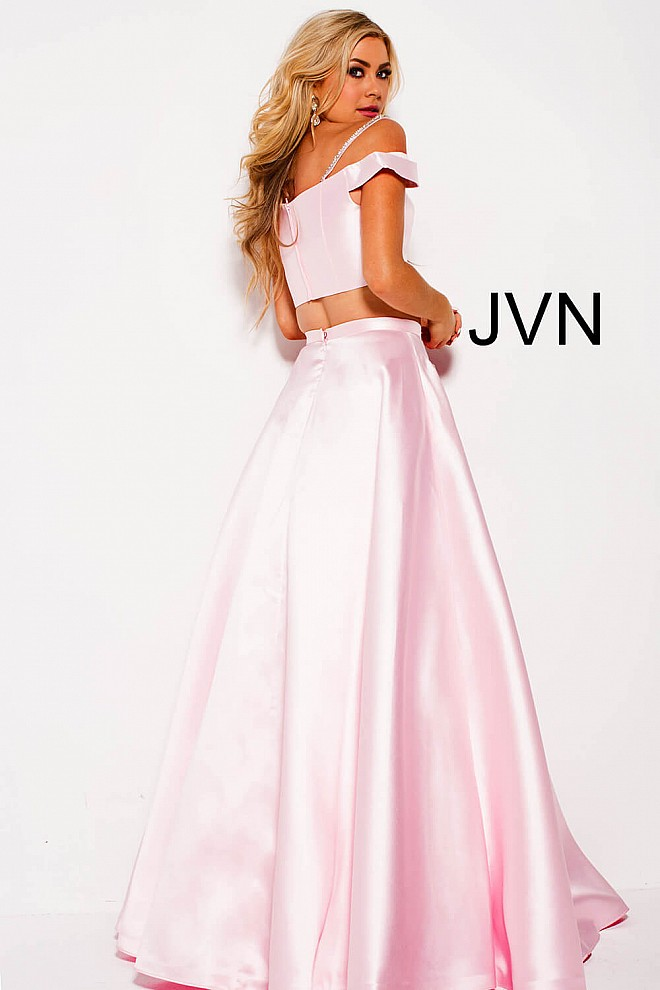 Blush long a line two piece off the shoulder sweetheart neck gown.