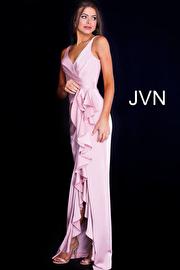Jvn Blush Ruffle Slit V Neck Ruched Prom Dress JVN60055