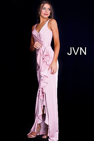 Blush Ruffle Slit V Neck Ruched Prom Dress JVN60055
