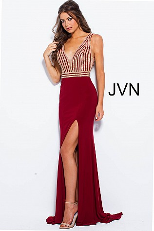 Burgundy Fitted Jersey Embellished Bodice Prom Dress JVN51867