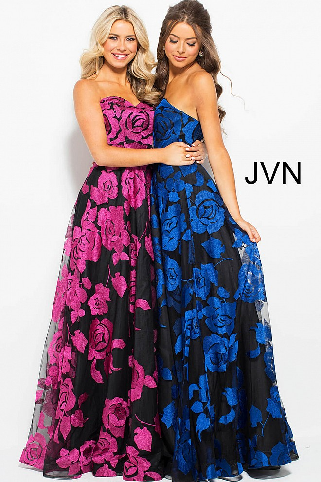 Black floral embroidered long A line strapless sweetheart ballgown.