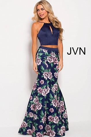 Navy Multi Floral Print Two Piece Fitted Prom Dress JVN59138