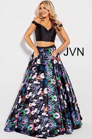 Black Multi Two Piece Off the Shoulder Ballgown JVN59098
