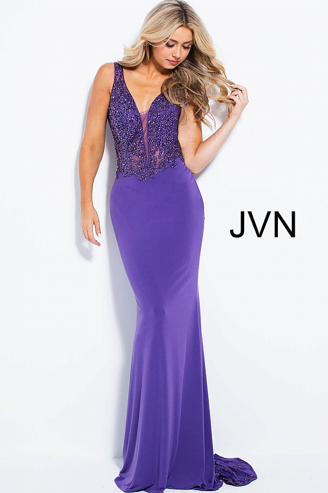 JVN58124 Purple Sheer Embellished Bodice Fitted Prom Dress