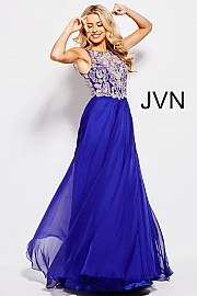 Green Embellished Bodice Chiffon Prom Dress JVN48709