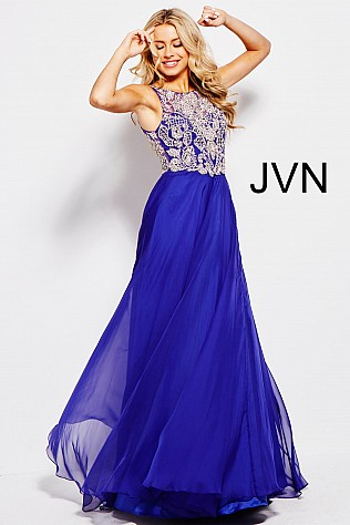 Royal Embellished Bodice Chiffon Prom Dress JVN48709