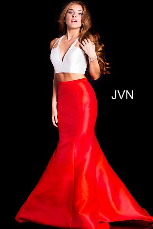 White Red Two Piece Sleeveless Mermaid Prom Dress JVN59898