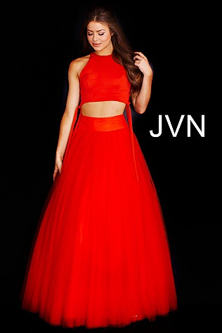 Red Two Piece Tulle Prom Ballgown JVN50742