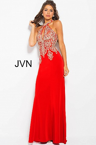 Red Halter Fitted Embellished Prom Dress JVN33691