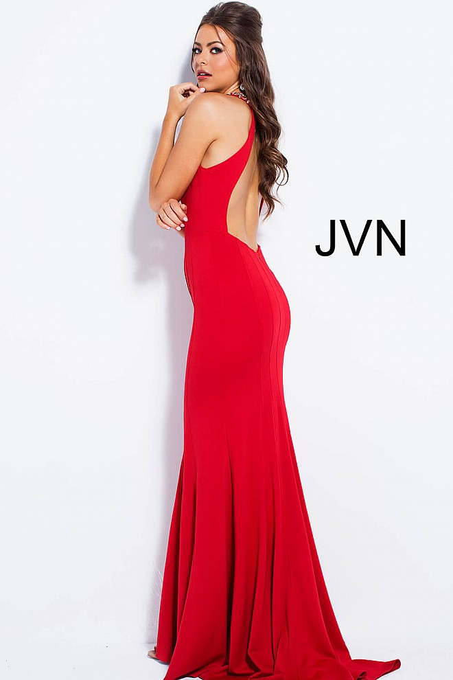 fd2d0e983a5 Red long fitted plunging neckline sweeping train prom dress.