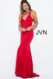 Jvn Red Crystal Embellished Neck Open Back Prom Dress JVN53349