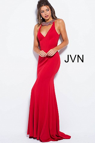 Red Crystal Embellished Neck Open Back Prom Dress JVN53349