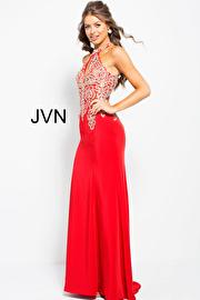 Red Halter Fitted Embellished Prom Dress JVN33691