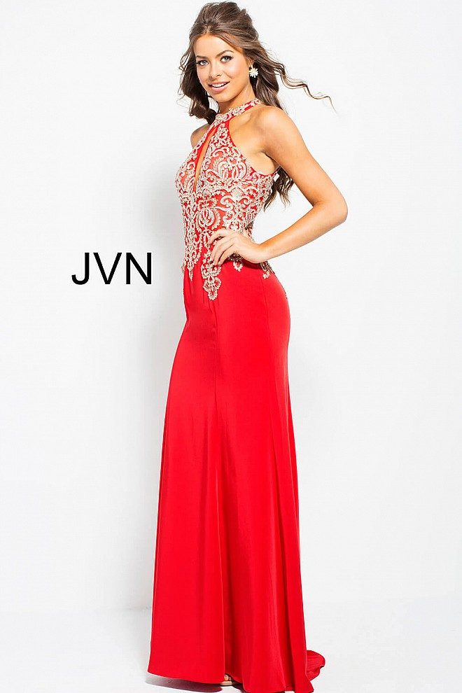 bcaeaebd72d ... red sleevekless prom dress jvn33691 side view · red high key hole neck  ...