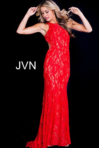 Red Lace Fitted Open Back Prom Dress JVN41875