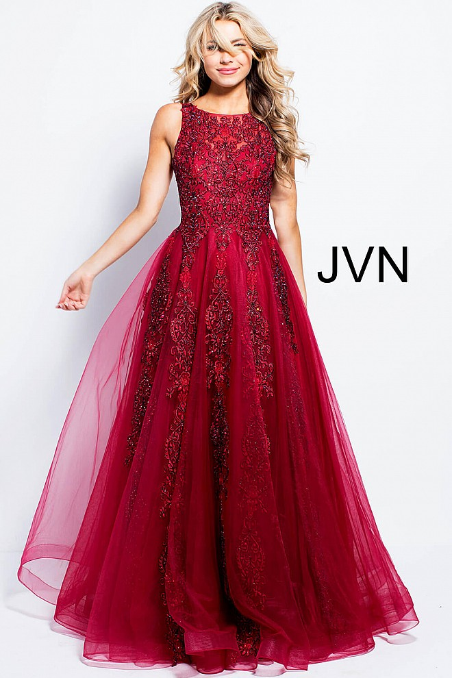 ... up  burgundy boat neckline prom tulle ballgown jvn59046  burgundy  embroidered beaded ... c48f9de675ab