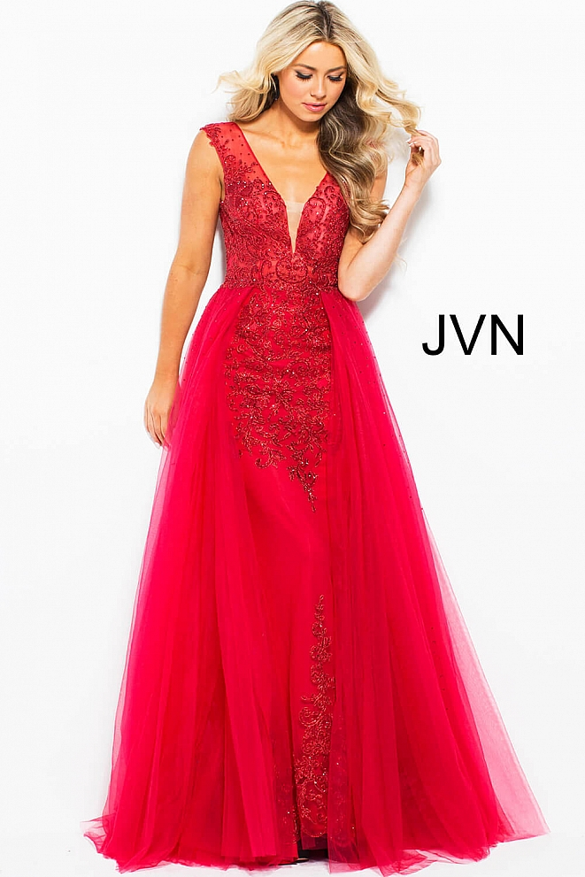 JVN41677 Red Beaded V Neck Backless Dress