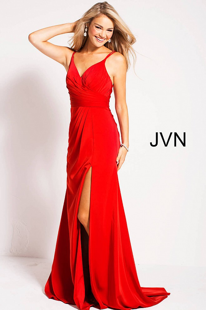 Red V Neck High Slit Ruched Bodice Long Prom Dress With High Slit
