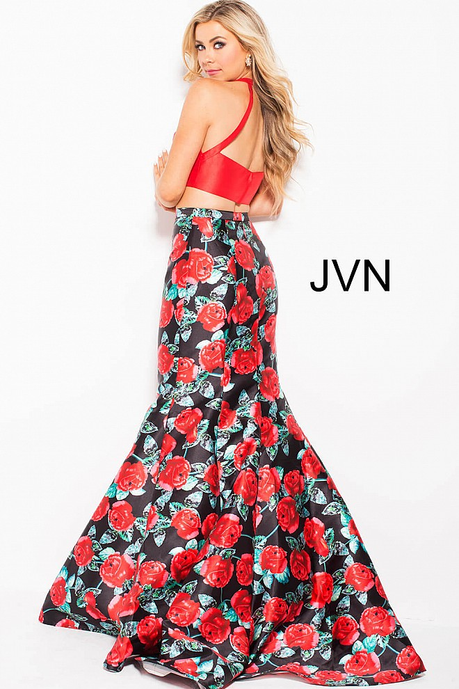 Red Floral Fitted Prom Dresses
