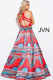 Red Multi Print V Neck Prom Ballgown JVN58590