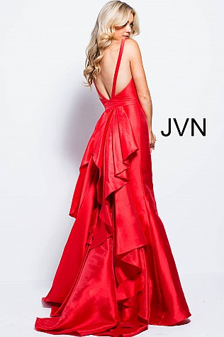 Red Ruffle Back Mermaid Prom Dress JVN53186