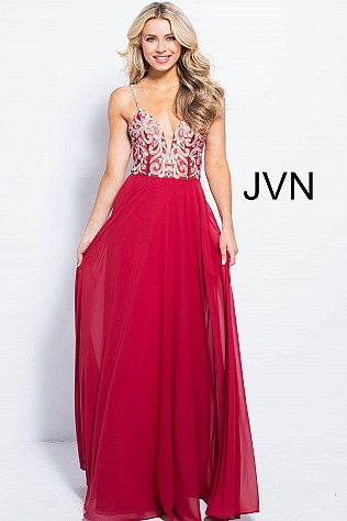 Burgundy Embroidered Bodice Backless Chiffon Dress JVN60206