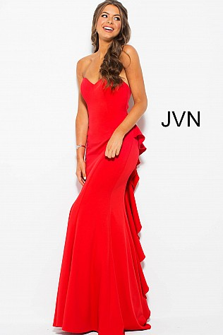 Red Strapless Ruffle Back Fitted Prom Dress JVN58022