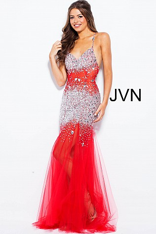 Silver Sleeveless Prom Dress with Crystal Embellishments JVN24736