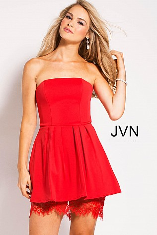 Red Strapless Fit and Flare Short Dress JVN45005