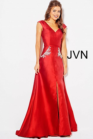 Red Embellished Pockets Mermaid Prom Dress JVN59080