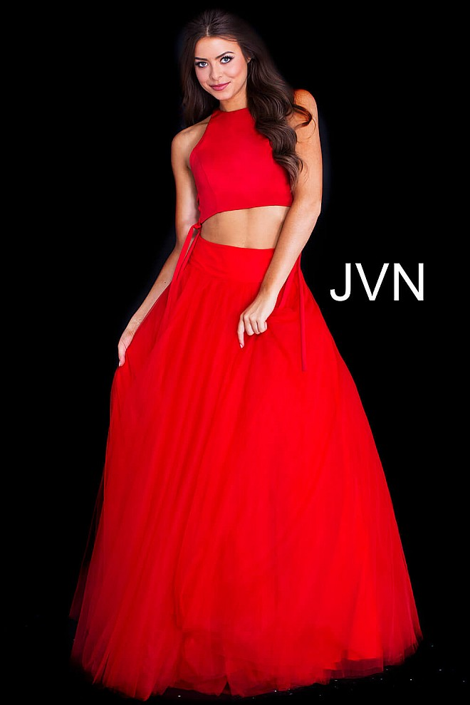 e2906ce6859 Red long two piece lace up sides crew neck sleeveless top ballgown.