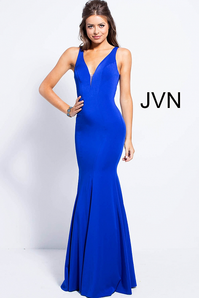 Royal Blue fitted plunging Neckline Bridesmaid Dress JVN58011