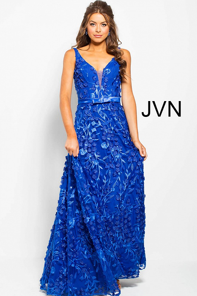 Royal Plunging Neckline Embroidered Tulle Prom Ballgown JVN57583