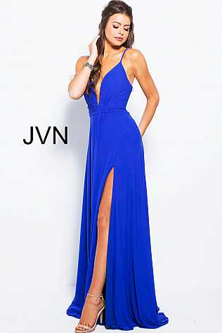 Royal Plunging Neck High Slit Prom Dress  JVN51367