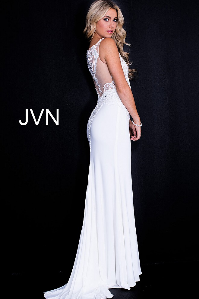 White fitted bodice dress.