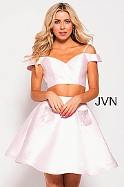 Blush Off the Shoulder Two Piece Fit and Flare Short Dress jvn61130