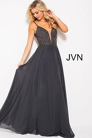 Gunmetal Embellished Plunging Neck Bodice Prom Dress JVN60599