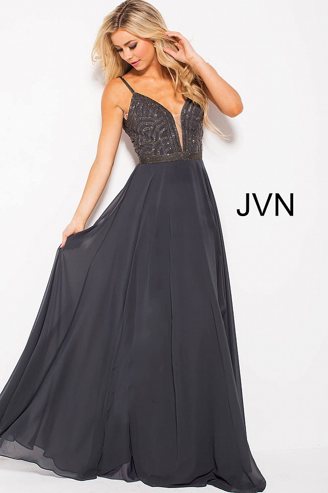 gunmetal long flowy spaghetti straps beaded bodice chiffon dress.