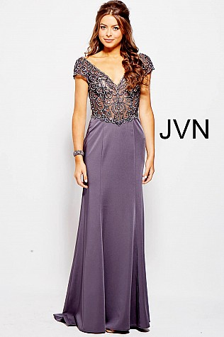 Charcoal Cap sleeves V Neck Prom Dress 57925