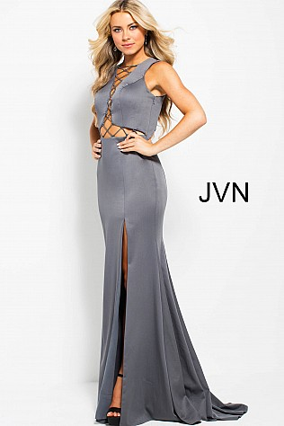Grey Fitted Lace up Front and Back High Slit Dress JVN59327