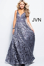 Grey Embellished Lace Long Bridesmaid Dress  JVN50320