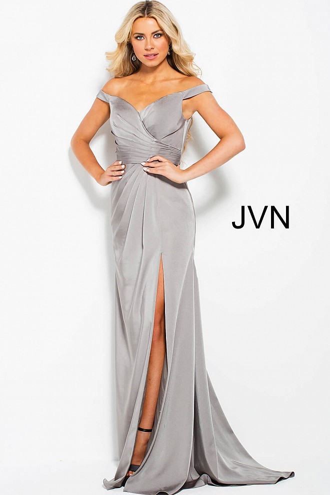 Taupe Off the Shoulder Pleated Bodice High Slit Prom Dress JVN50409