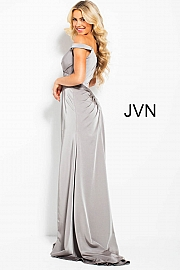 Taupe Off the Shoulder Pleated Bodice High Slit Prom Dress JVN50409