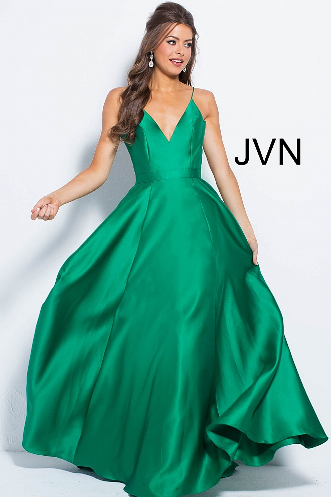 eee2dcee911 ... v neck black ballgown JVN48791  pleated skirt emerald prom dress  JVN48791  emerald A line skirt prom dress JVN48791 ...
